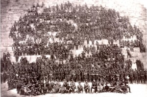 11th Battalion on the Great Pyramid of Khufu (Cheops) at Giza, Egypt - 10 January 1915