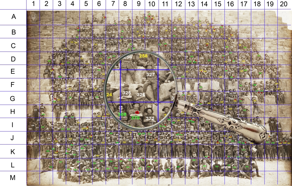 11th Battalion A.I.F. at Khufu (Cheops) Pyramid, Giza, Egypt – 10 January 1915 WAGS Grid Image (Click to enlarge)