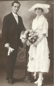 Wally and Ivy Goodlet on their wedding day. 1920