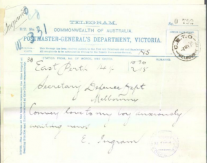 Telegram from Elizabeth Ingram
