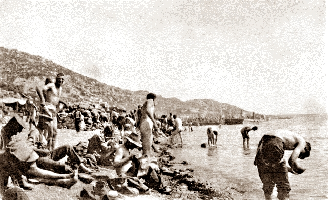 Swimming at Anzac Cove - per AWM P01116.005