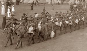 H Coy practice marching out of Blackboy Hill 1914 - ex Andrew Barker