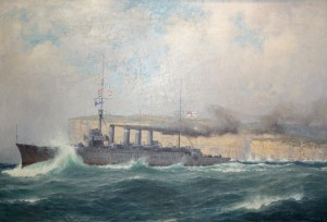 HMAS Sydney passing Sydney heads per RAN heritage collection