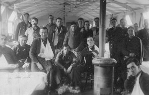 Hector, fourth soldier from the right, standing. He sent this photo to his half-brother in Fremantle.