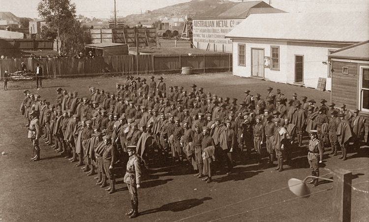 11th Battalion Kalgoorlie Recruits - Muster prior to marching out from the Kalgoorlie Drill Hall August 1914