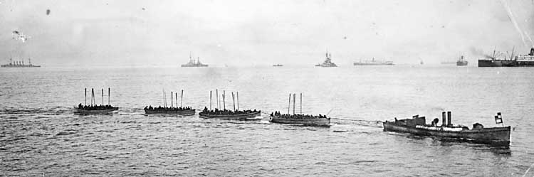 Gallipoli landing boats being towed - 25 April 1915