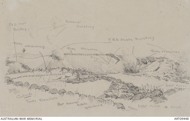 Australians and Turks advancing during an attack at Gallipoli - Sketch by Dudley Elliott (Per AWM ART09448)
